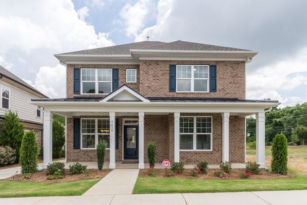 brick with full front porch