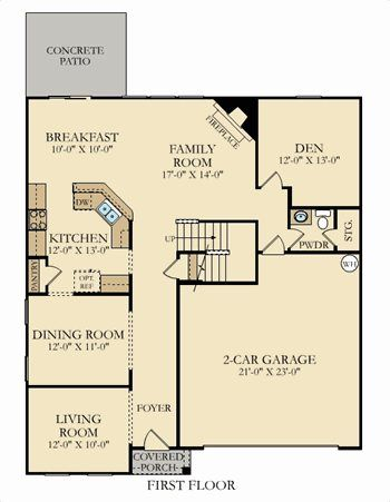First floor. Emerald Plan at Kinmere Farms   Enclave in Gastonia  North