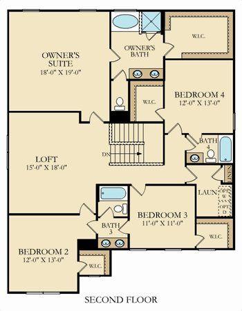Second floor. Grisham Plan at Kinmere Farms   Enclave in Gastonia  North