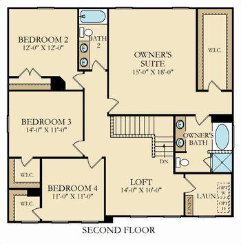 Second floor. Davidson Plan at Kinmere Farms   Enclave in Gastonia  North