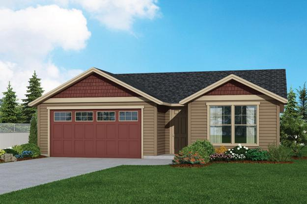 Plan 1549 Elevation 1 Rendering by Aho Construction:Plan 1549 Elevation 1