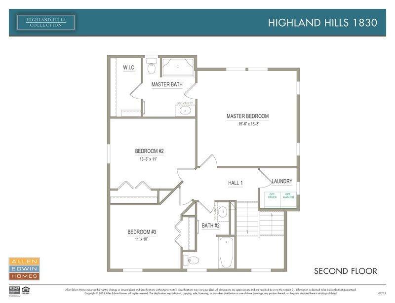 Highland Hills 1830 Home Plan By Allen Edwin Homes In