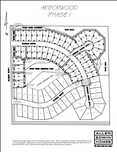 Arborwood Lot Map