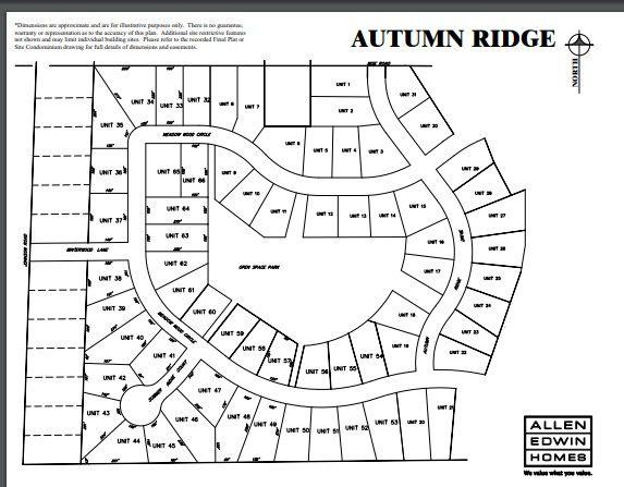 Autumn Ridge Lot Map