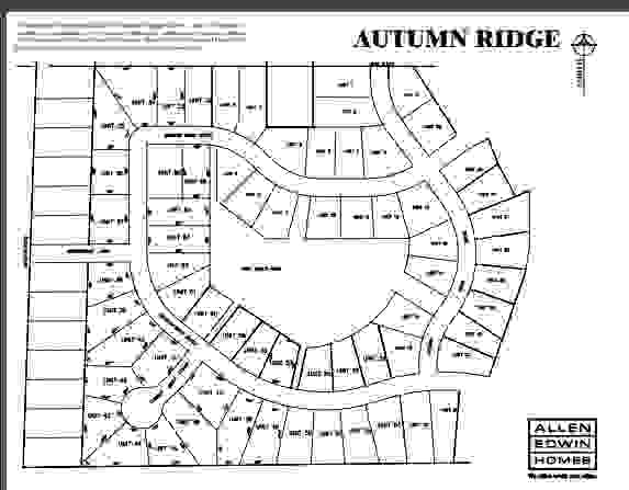 Autumn Ridge Lot Map