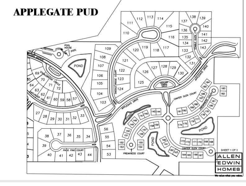 Applegate Lot Map