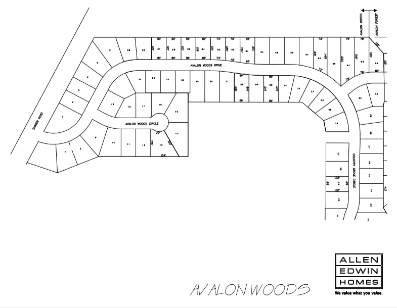Avalon Woods Lot Map