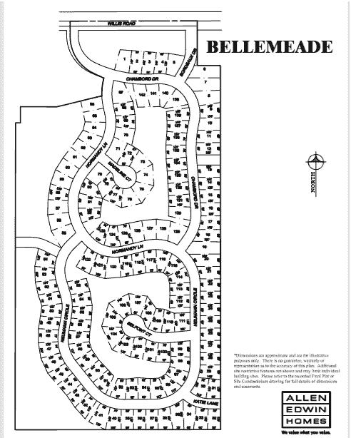 Bellemeade Lot Map