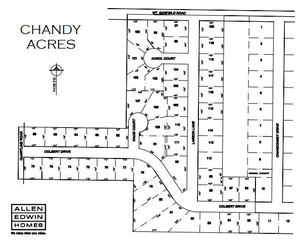 Chandy Acres Lot Map