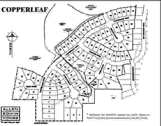 Copperleaf Lot Map