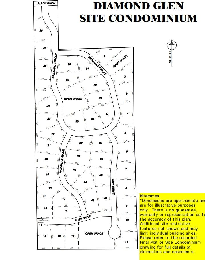 Diamond Glen Lot Map