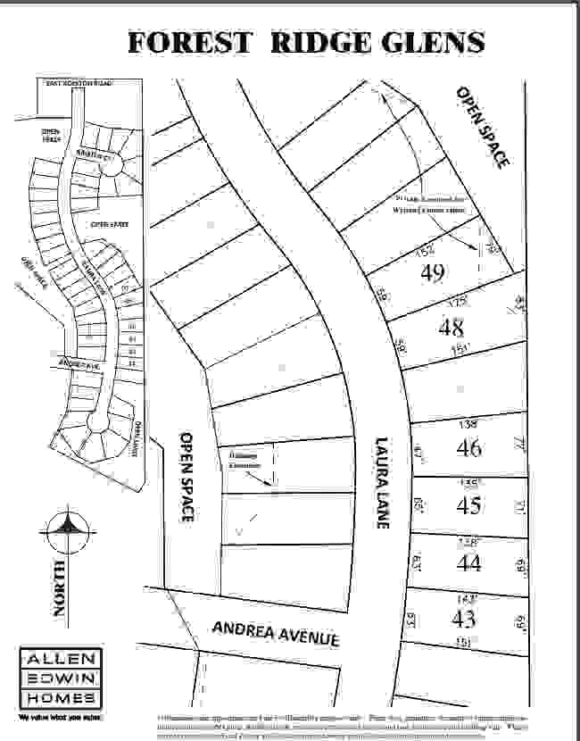 Forest Ridge Glens Lot Map