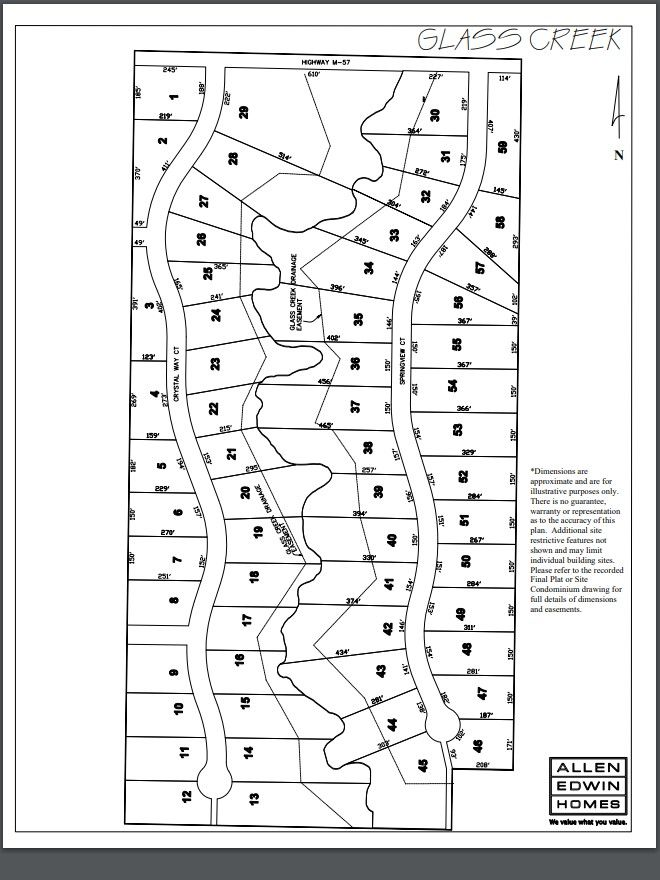 Glass Creek Estates Lot Map