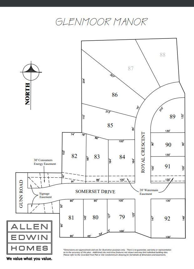 Glenmoor Manor Lot Map
