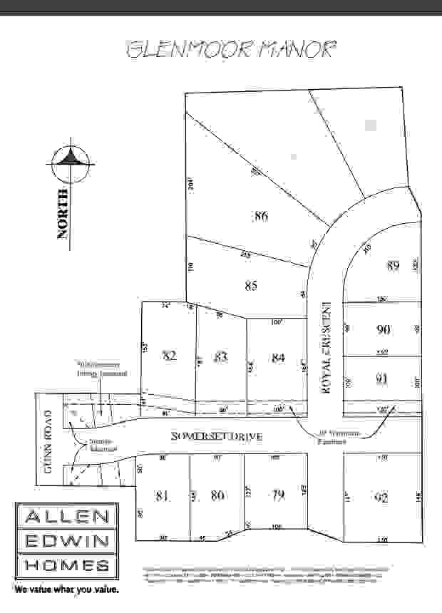 Glenmoor Manor Lot Map
