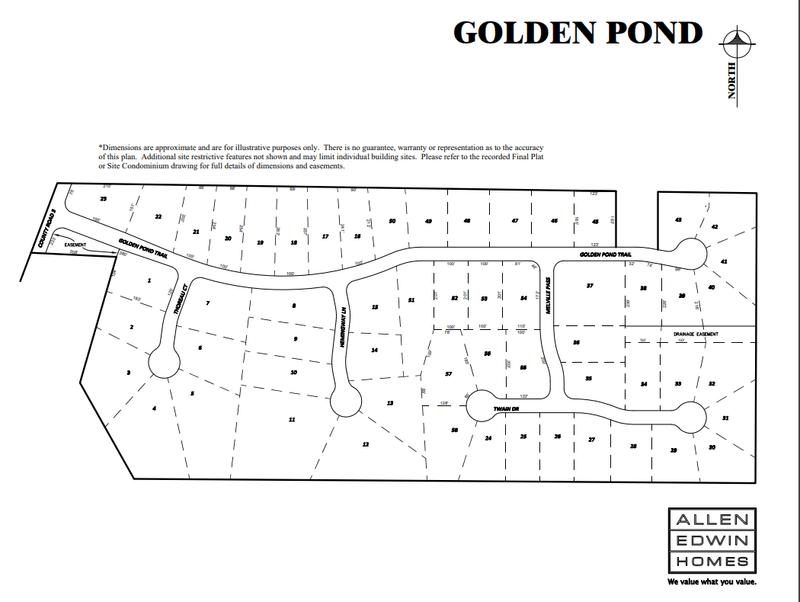 Golden Pond Lot Map