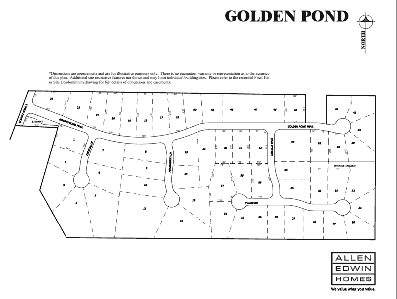 Golden Pond Lot Map