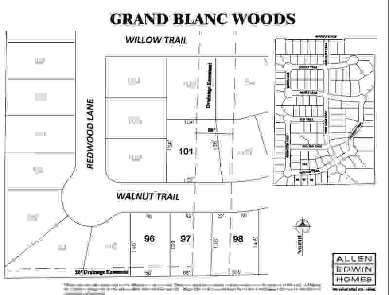 Grand Blanc Woods Lot Map