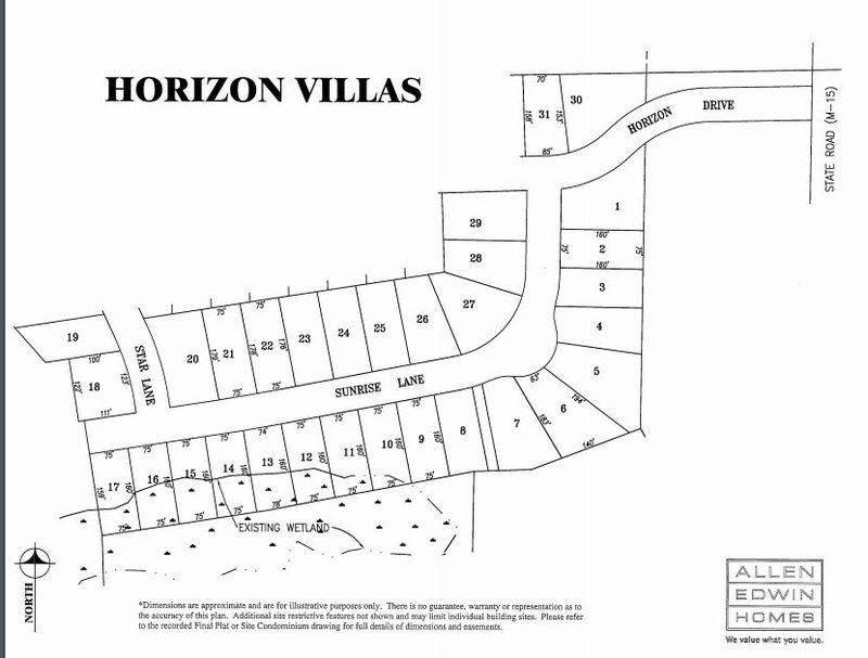 Horizon Villas Lot Map