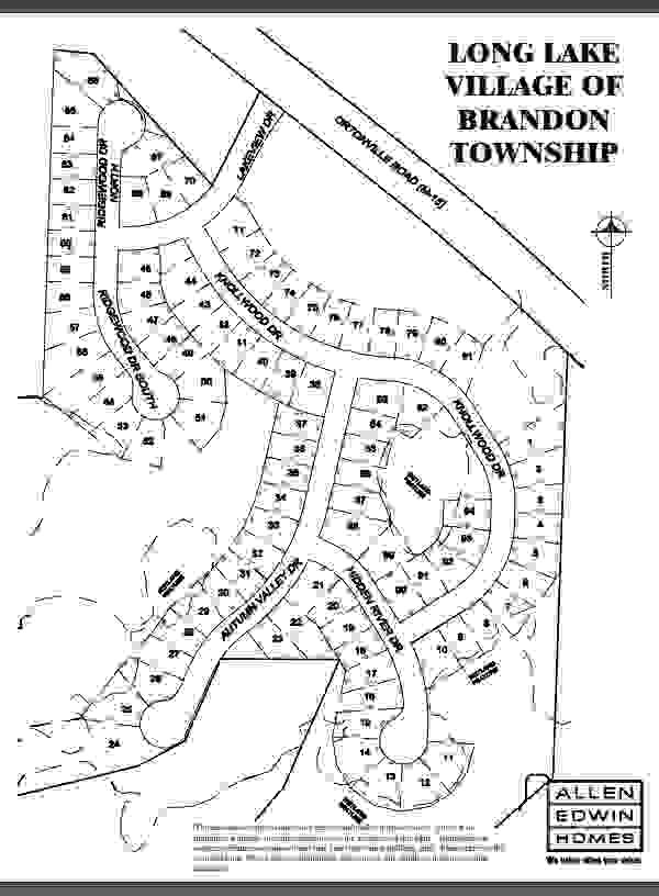 Long Lake Village Lot Map