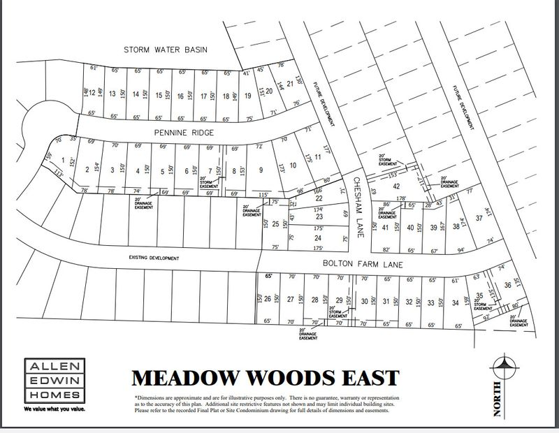 Meadow Woods East Lot Map
