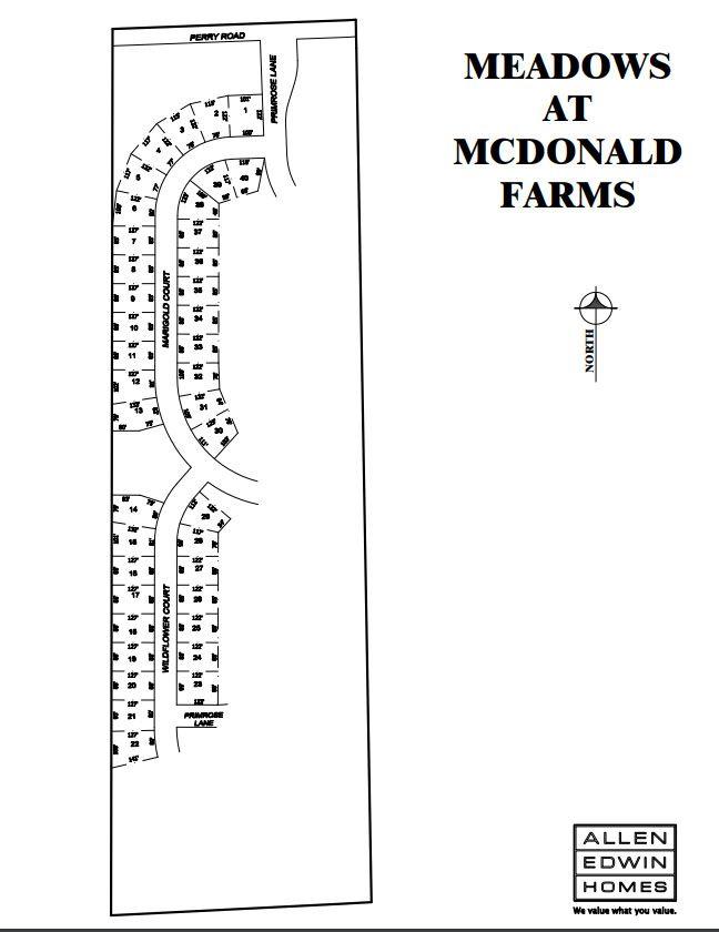 Meadows at McDonald Farms Lot Map