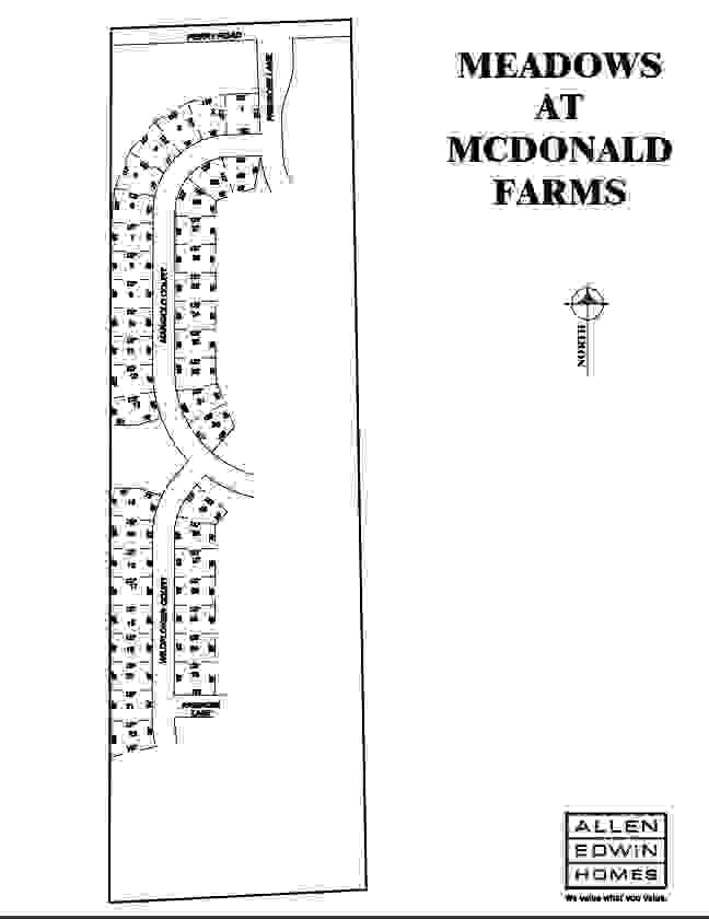 Meadows at McDonald Farms Lot Map