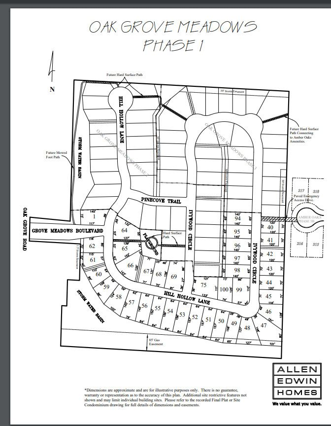 Oak Grove Meadows Lot Map