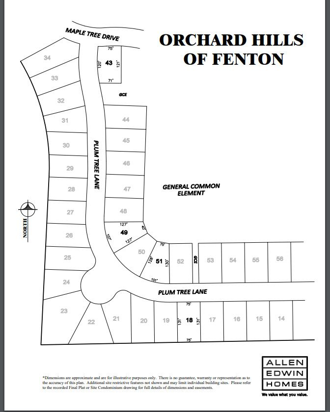 Orchard Hills of Fenton Lot Map