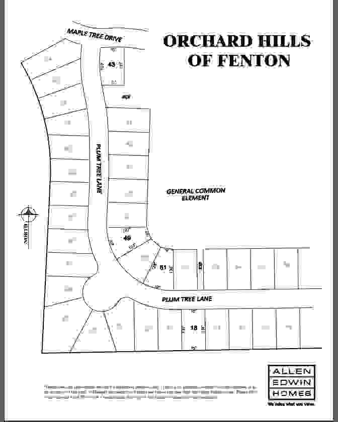 Orchard Hills of Fenton Lot Map