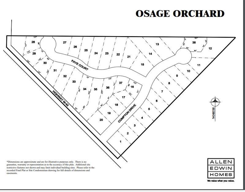 Osage Orchard Lot Map