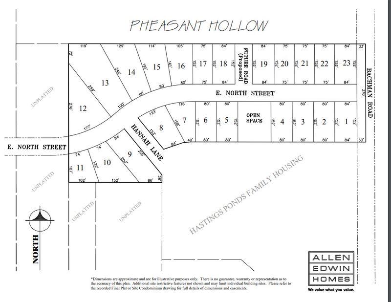 Pheasant Hollow Lot Map