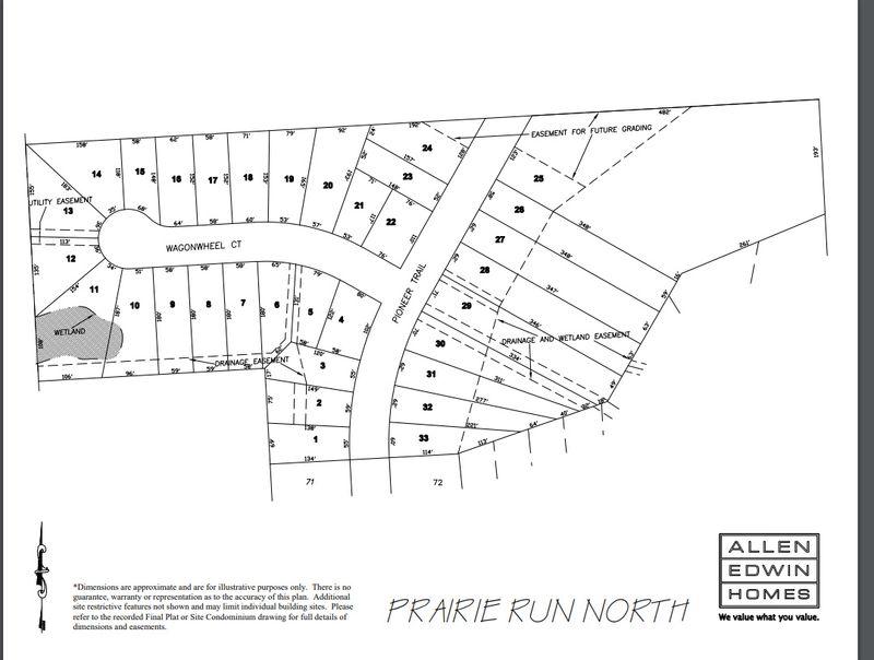 Prairie Run North Lot Map
