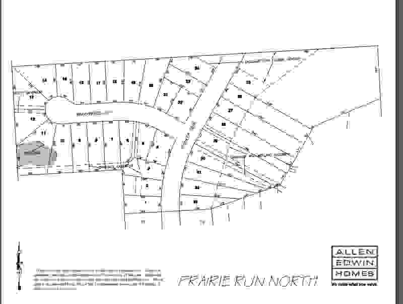 Prairie Run North Lot Map