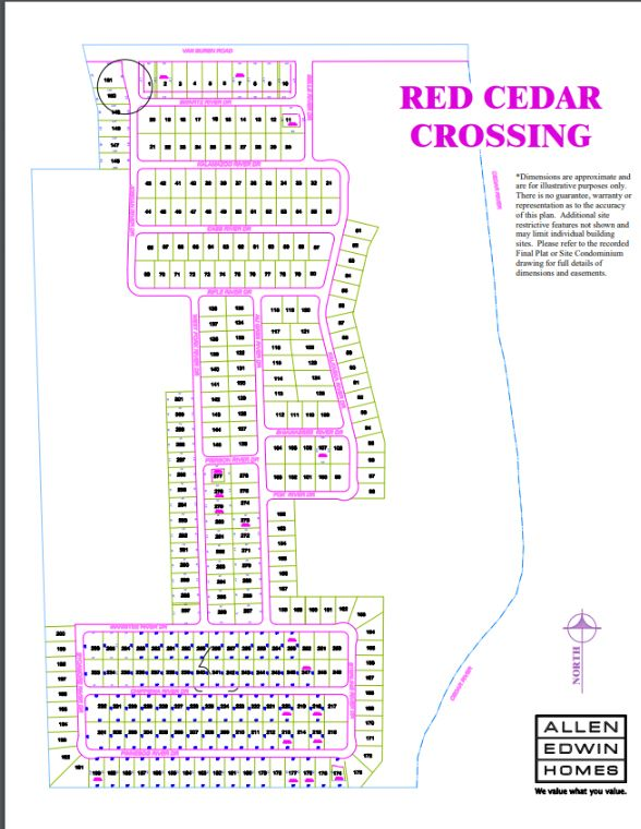 Red Cedar Crossing Lot Map