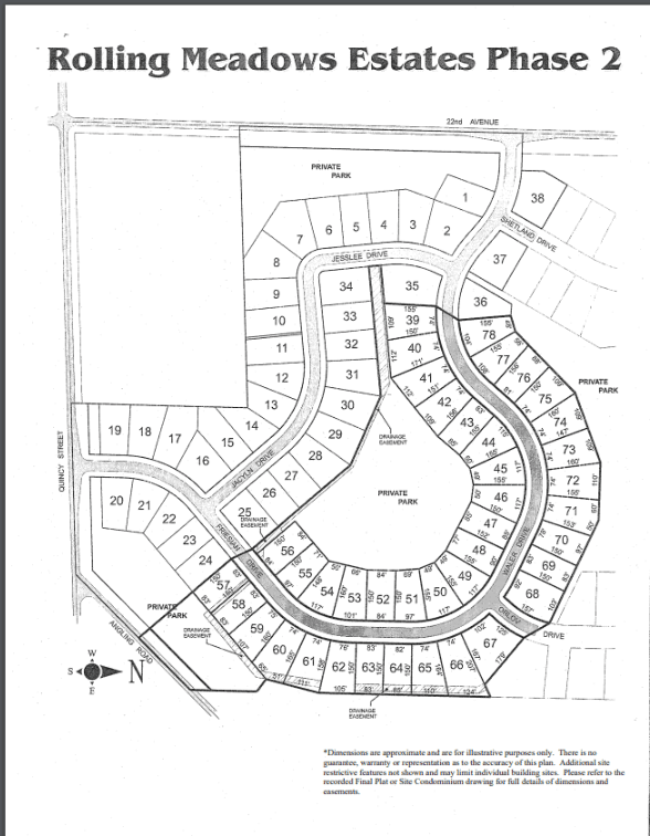 Rolling Meadows Estates Lot Map 2
