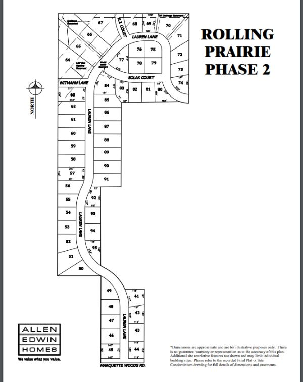 Rolling Prairie Lot Map