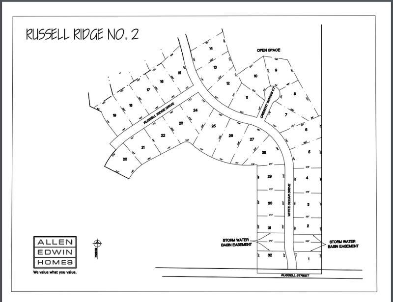Russell Ridge Lot Map
