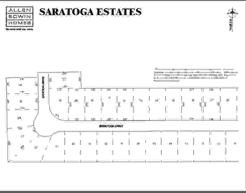 Saratoga Estates Lot Map 1