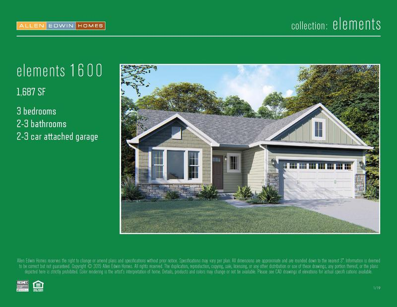 Elements 1600 Home Plan By Allen Edwin Homes In Trumpeter Bay