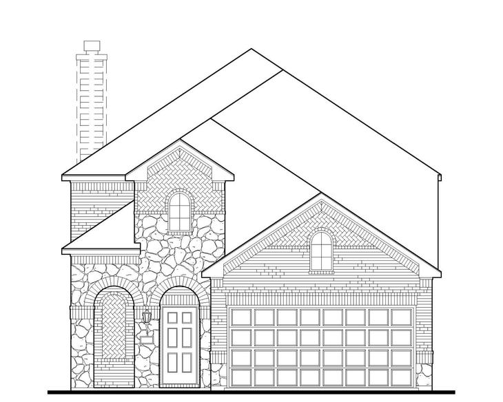 Exterior:4501 Ivory Horn Elevation A w/ Stone