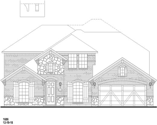 Exterior:732 Fireside Elevation B w/ Stone