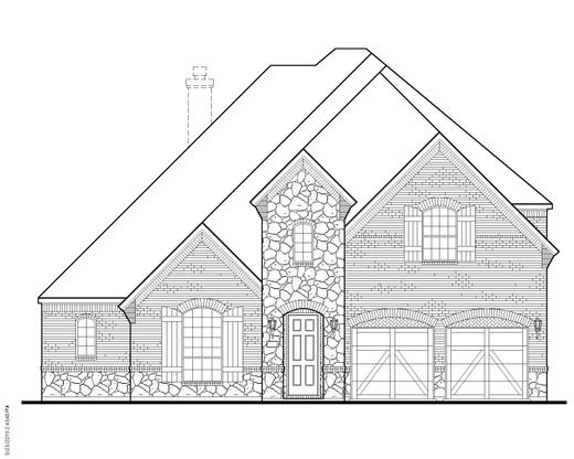 Exterior:Plan 1632 Elevation A w/ Stone