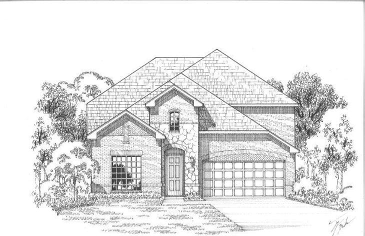 Exterior:Plan 1156 Elevation A w/ Stone