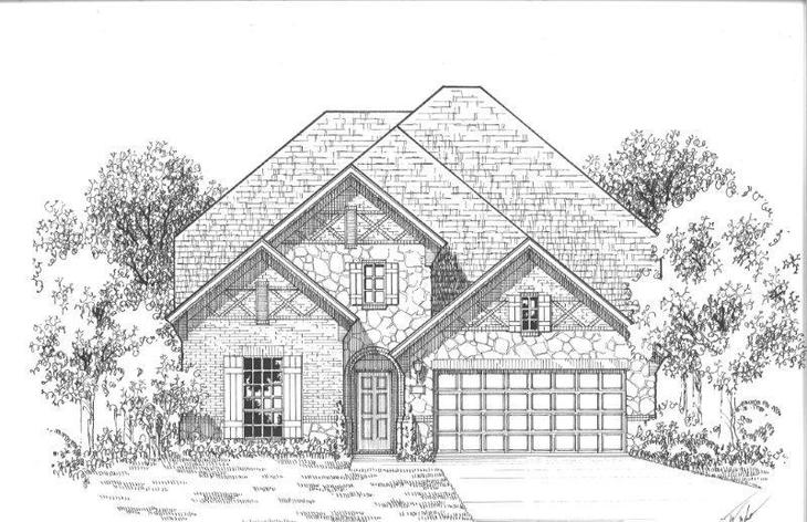 Exterior:Plan 1156 Elevation C w/ Stone