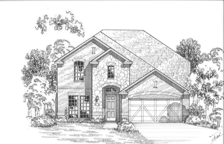 Exterior:2109 Sutton Elevation A w/ Stone