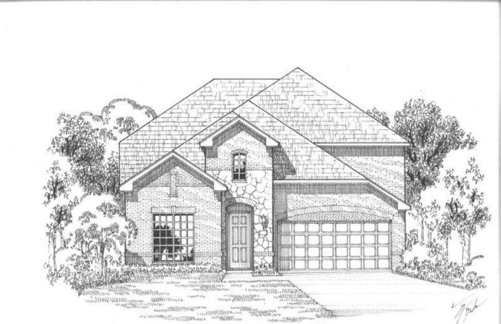 Exterior:12201 Beatrice Elevation A w/ Stone