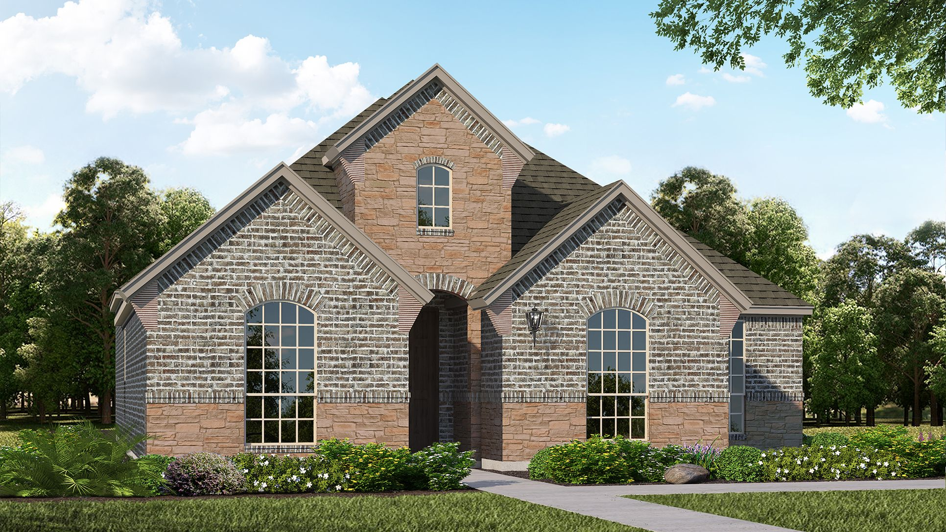 Exterior:Plan 1592 Elevation A with Stone by American Legend Homes