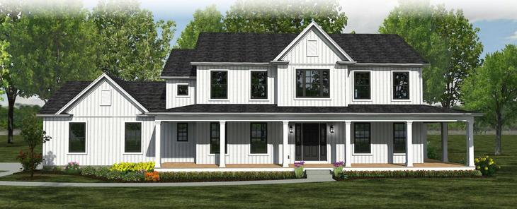 The Meadowbrook - Farmhouse:Elevation