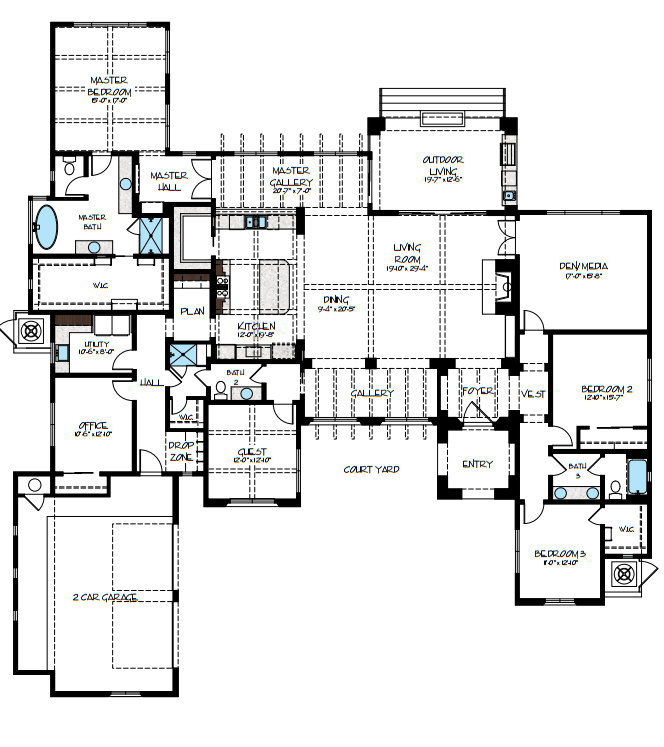 Santa Barbara Style Model Floor Plan